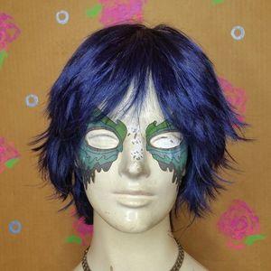 Sepia Anime Style Costume Wig Jinx Midnight Blue